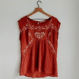 Maurices • Boho Dreamy Rouge Embroidered Tank